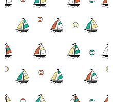 Pattern with color boats. Sailfish background. Cheerful ornament with sailboats Photographic Print