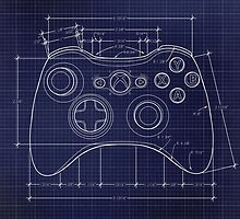 XBOX 360 Controller Top Blue Print by ChristineWilson