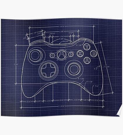 XBOX 360 Controller Top Blue Print Poster