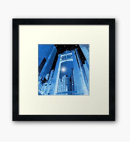Cobalt Skyscrapers Framed Print