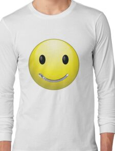 Smiley face with zip mouth Long Sleeve T-Shirt