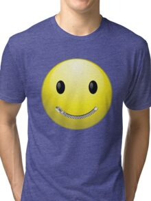 Smiley face with zip mouth Tri-blend T-Shirt