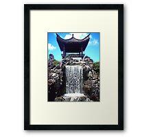 Japanese Botanical Garden Waterfall Framed Print