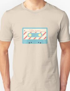 Pattern with retro audio cassettes. Seamless colorful music love and skull retro illustration  Unisex T-Shirt