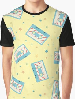 Pattern with retro audio cassettes. Seamless colorful music love and skull retro illustration  Graphic T-Shirt