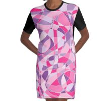Electric Guitar Optical Illusion in Pink and Purple Graphic T-Shirt Dress