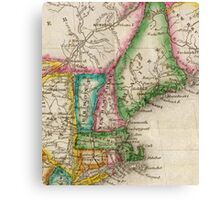 Vintage Map of New England (1822) Canvas Print
