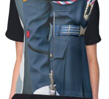 Buttoned Up Sergeant   Chiffon Top