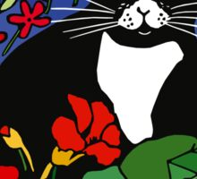 Black and White Cat in the Garden Sticker