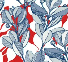 Leaf and Berry Sketch Pattern in Red and Blue Sticker