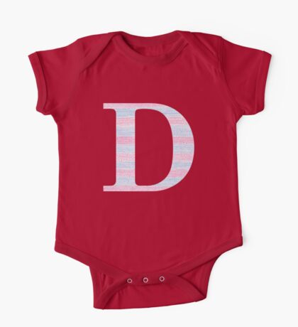 Letter D Blue And Pink Dots And Dashes Monogram Initial One Piece - Short Sleeve