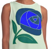 Retro Seventies style rose flower blue Contrast Tank