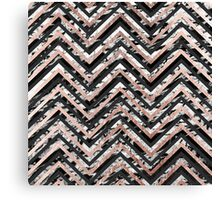 Black and White Marble and Rose Gold Chevron Zigzag Canvas Print