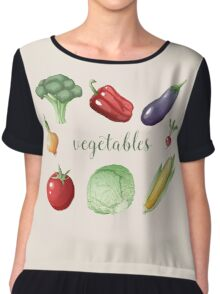 Vegetables Set in Vintage Style. Healthy Food Chiffon Top