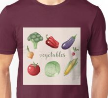 Vegetables Set in Vintage Style. Healthy Food Unisex T-Shirt