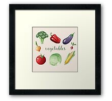 Vegetables Set in Vintage Style. Healthy Food Framed Print