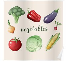 Vegetables Set in Vintage Style. Healthy Food Poster