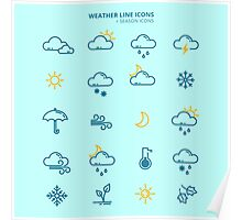 Forecast Weather and Seasonable Icons Set Poster