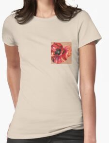 Oil Pastel Red Poppy Womens Fitted T-Shirt