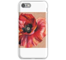 Oil Pastel Red Poppy iPhone Case/Skin