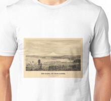 Vintage Pictorial Map of Tacoma Washington (1878) Unisex T-Shirt