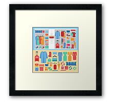 Wardrobe with Women's Clothing, Shoes ans Accessories Framed Print