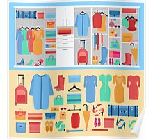 Wardrobe with Women's Clothing, Shoes ans Accessories Poster