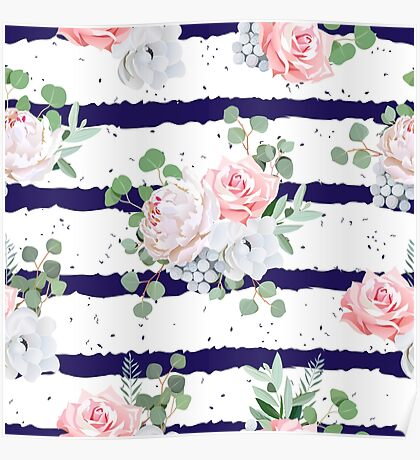 Navy striped print with bouquets of rose, peony, anemone, brunia flowers and eucaliptis leaves Poster