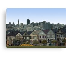 Hand Drawn San Francisco Painted Ladies Canvas Print