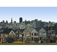 Hand Drawn San Francisco Painted Ladies Photographic Print