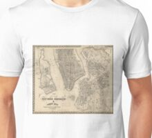Vintage Map of NYC and Brooklyn (1855) Unisex T-Shirt