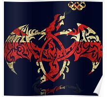 BRITISH DRAGON FLAG FIRE RINGS  Poster
