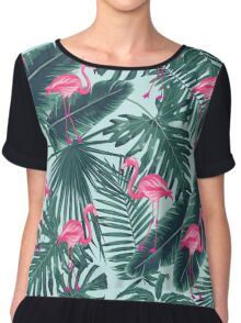 tropic abstract flamingo Chiffon Top