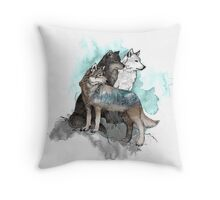 Double Exposure Wolves Throw Pillow
