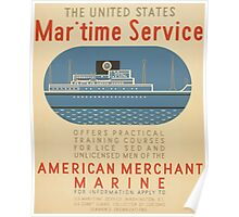 WPA United States Government Work Project Administration Poster 0935 Maritime Service American Merchant Marine Poster