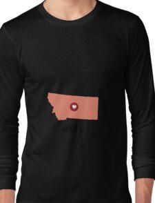 Montana State Heart Long Sleeve T-Shirt
