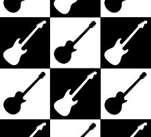Electric Guitar Checkerboard by Roz Abellera Art