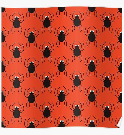 Halloween spiders simple pattern. Cute seamless background.  Poster