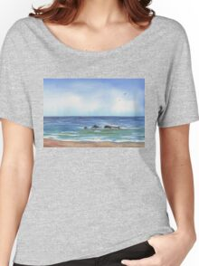 Seascape With Three Rocks Beach Art Women's Relaxed Fit T-Shirt