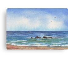 Seascape With Three Rocks Beach Art Canvas Print