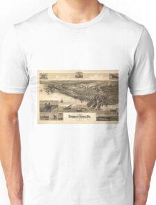 Vintage Pictorial Map of Newport News VA (1891) Unisex T-Shirt