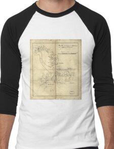 Vintage Newport News and Hampton Roads Map (1800)  Men's Baseball ¾ T-Shirt