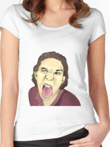 Funny Man That Sticks His Tongue Out Women's Fitted Scoop T-Shirt