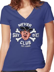 Never Say Die Club Women's Fitted V-Neck T-Shirt