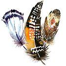 Tribal feathers boho style worm down tones by artonwear