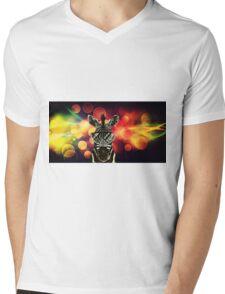 Zebra Bokeh Art Mens V-Neck T-Shirt