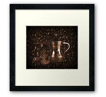 THE LAST DROP..(COFFEE POT-COFFEE BEANS-&ROSE) / PICTURE / TOTE BAG / THROW PILLOW Framed Print