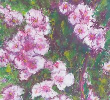 Pink Cascade (pastel) by Niki Hilsabeck