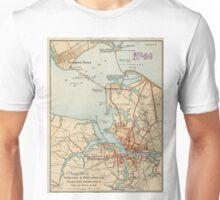 Vintage Map of Norfolk and Portsmouth VA (1919) Unisex T-Shirt