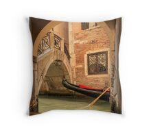 Venice gondola through the arch Throw Pillow